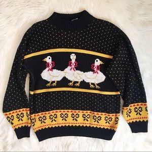 Vintage Goose Black Yellow Knit Sweater